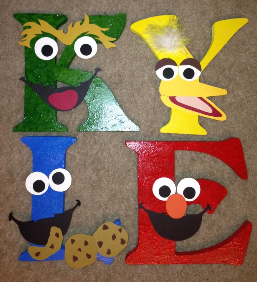 Cartoon Characters With 5 Letters In Their Name : Sesame street style letters painting and stuff