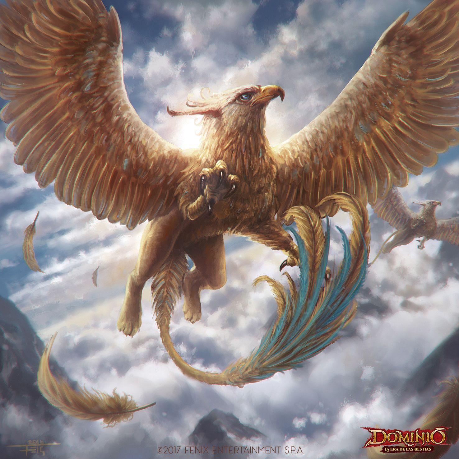 Golden Gryphon Feig Felipe Perez On Artstation At Https Www Artstation Com Artwork 8dbg Mythical Creatures Fantasy Mythical Creatures Art Mythical Creatures