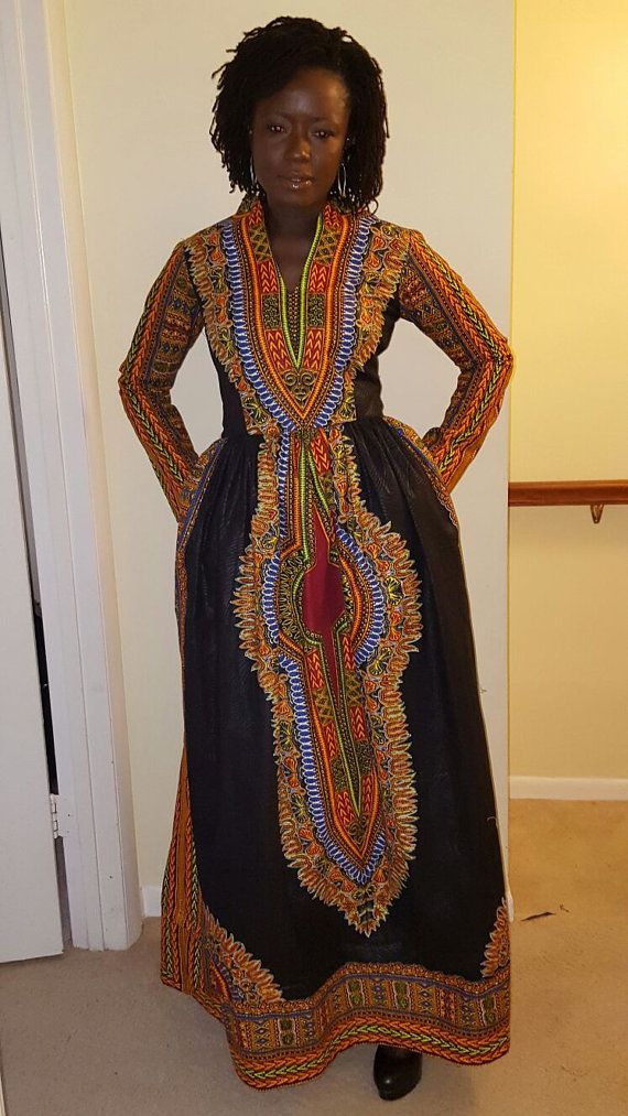 Dashiki Maxi Dress with pockets (xs to 4xxxxl)