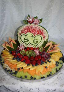 fruit platter, fruit carving, sweet table, centerpieces | wedding ...