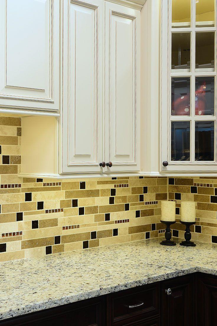 - BROWN GLASS TRAVERTINE Mix Backsplash Tile For Traditional Kitchen