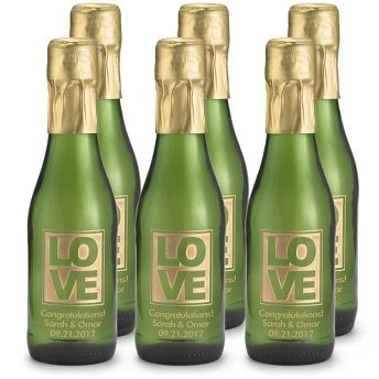Personalized Mini Love Etched Sparkling Wine Bottle Favors , Add ...