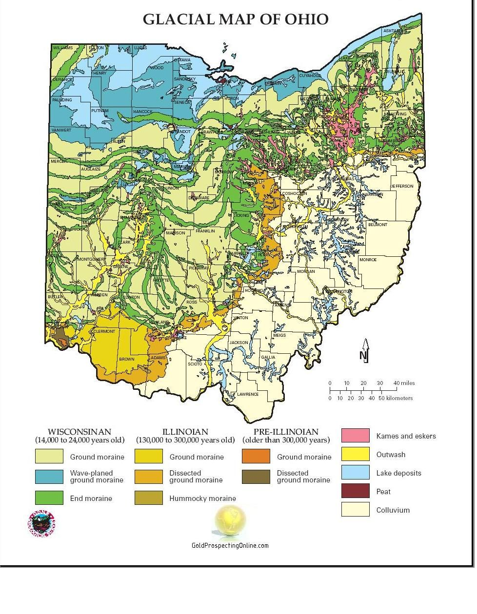 Moraine Ohio Map.Where To Find Gold In Ohio Panning For Gold