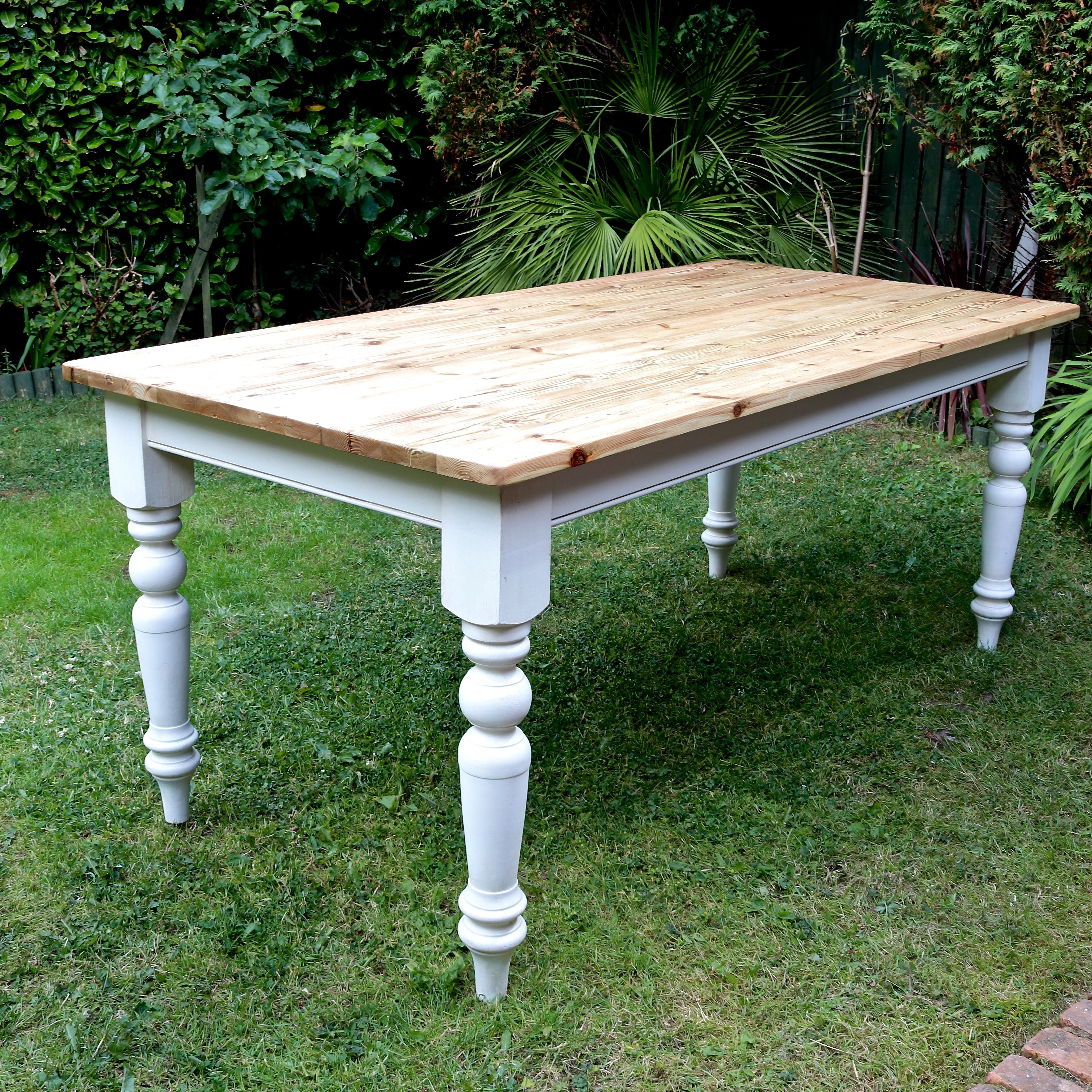 Reclaimed kitchen table  Pine kitchen table with reclaimed floorboard top handpainted in