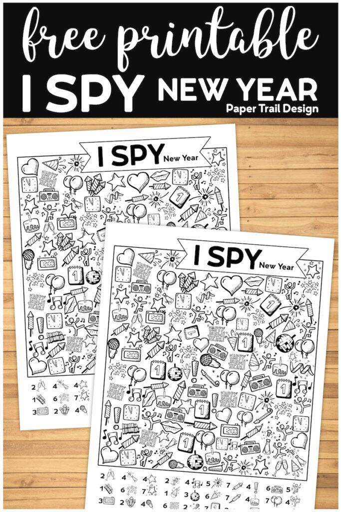 The I Spy New Year's game is a great way to celebrate with the kids. Print the I spy activity for free and use for an easy and fun family celebration. #papertraildesign #Ispy #NewYear #NewYears #happynewyear #newyearwithkids #kidsnewyear #newyearkidsactivity