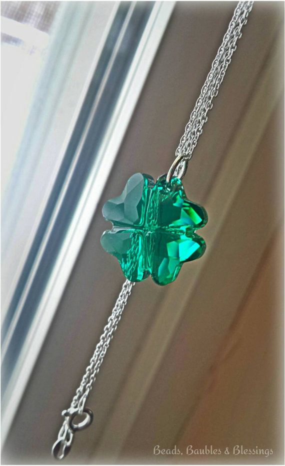 Stering Swarovski Shamrock Necklace by BeadsBaublesBlessing