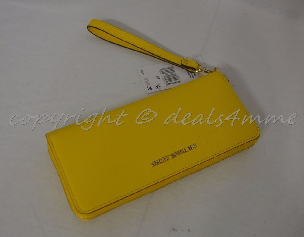 4560f0ce94bf NWT! Michael Kors Jet Set Travel Continental Wallet Wristlet in Sunflower  Yellow  MichaelKors  Wristlet