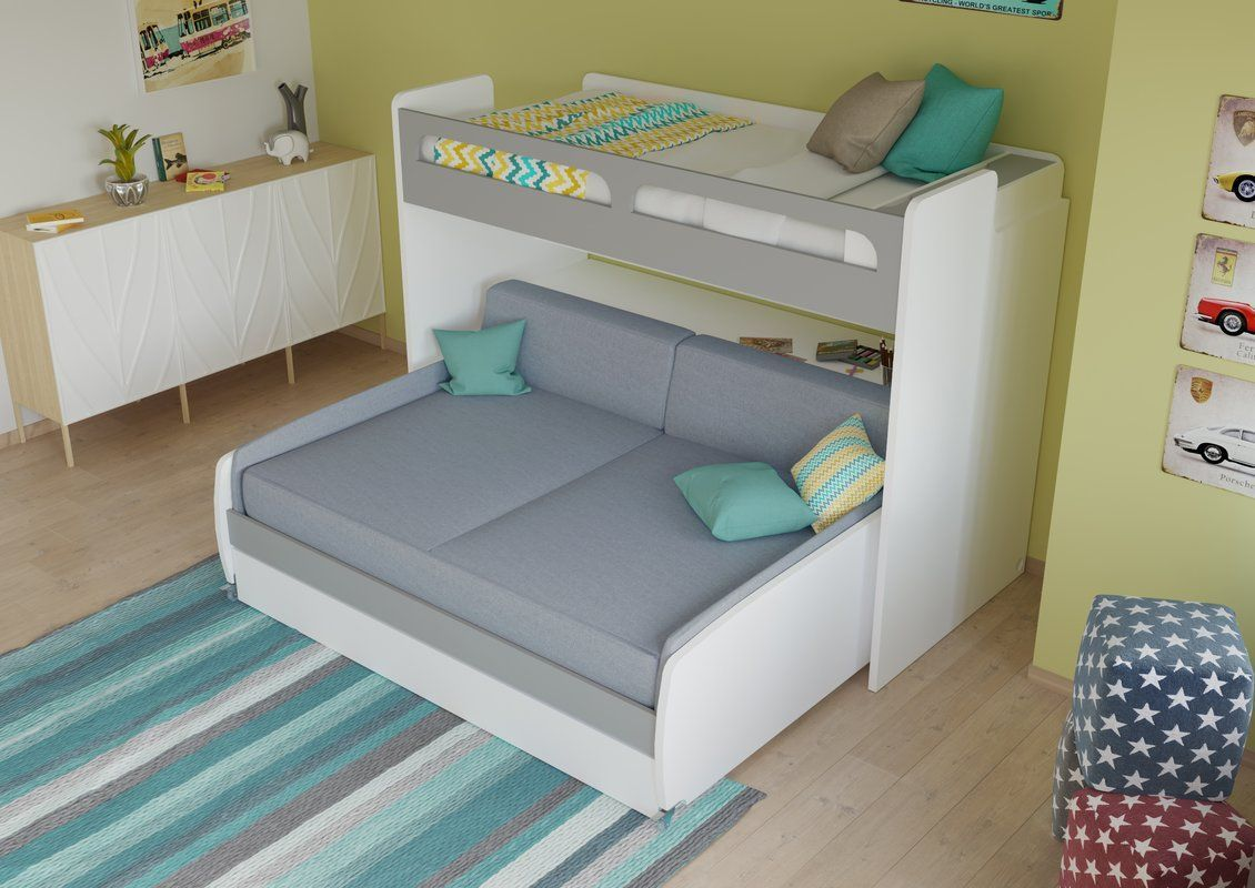 Gautreau Twin Bunk Bed over Full XL Sofa Bed, Table and