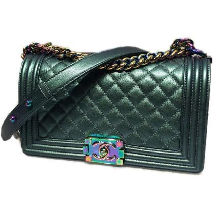 cca8e788e232 Chanel Cruise 2016 Boy Bag in Green with Rainbow Hardware as seen on ...