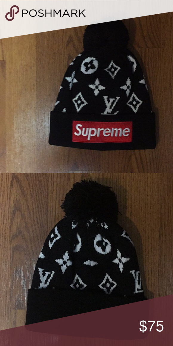 ef1e8bf4001 Supreme x lv Louis Vuitton collab hype beanie hat Embroidered patch Black  also available in red