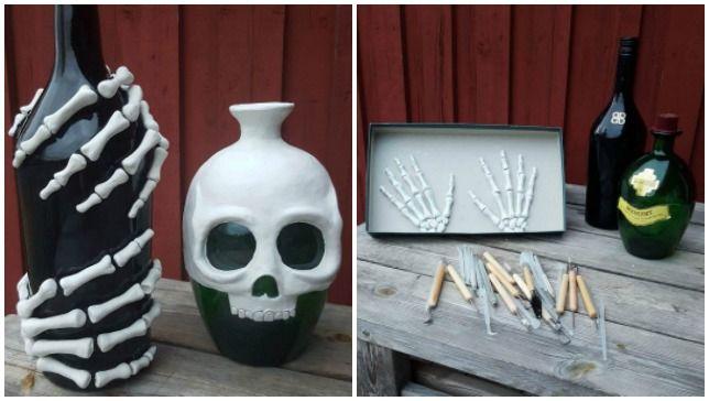 Make these skeleton bottles for Halloween Halloween diy, Spooky
