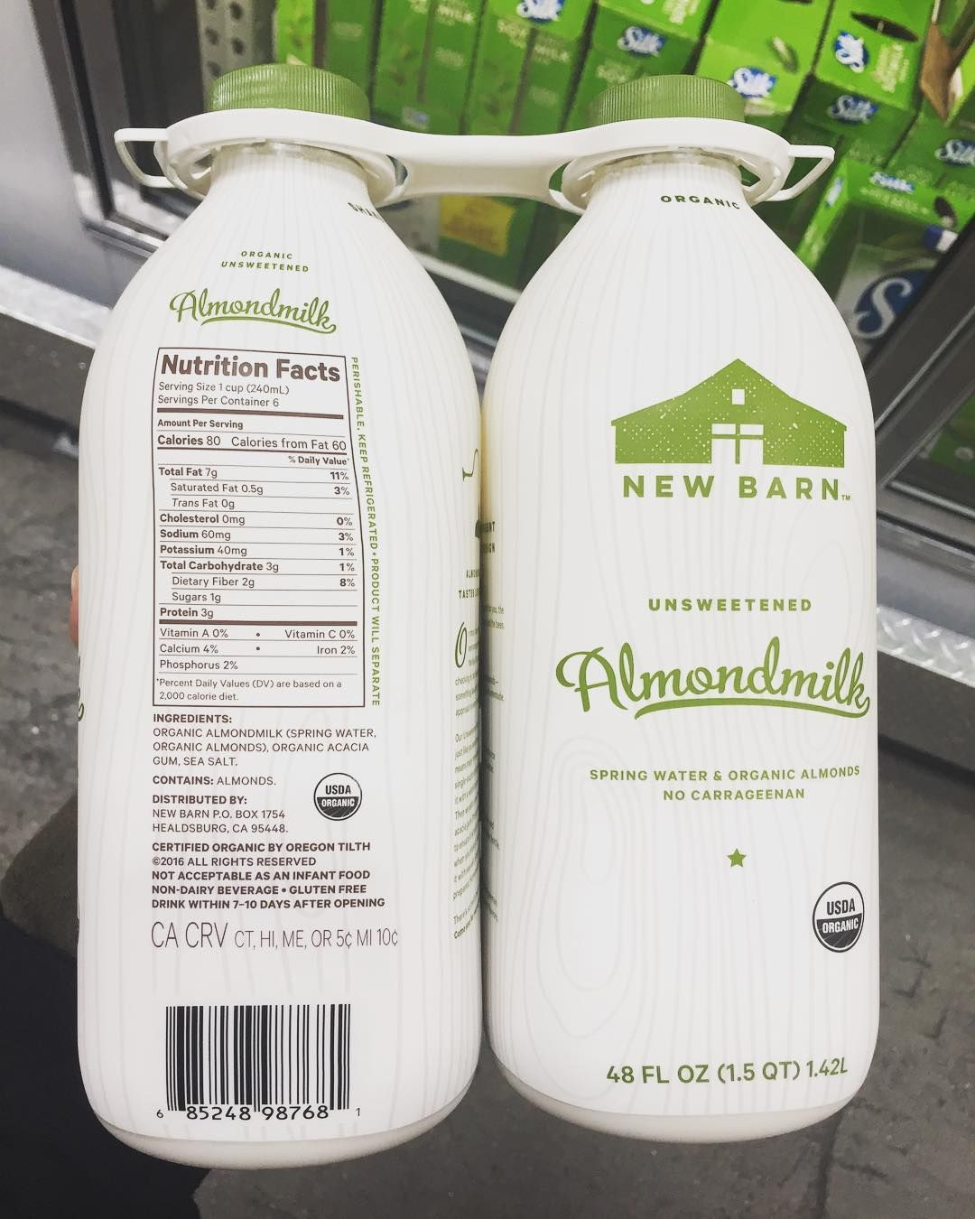 costco come up : 96oz of milk made from organic almonds and