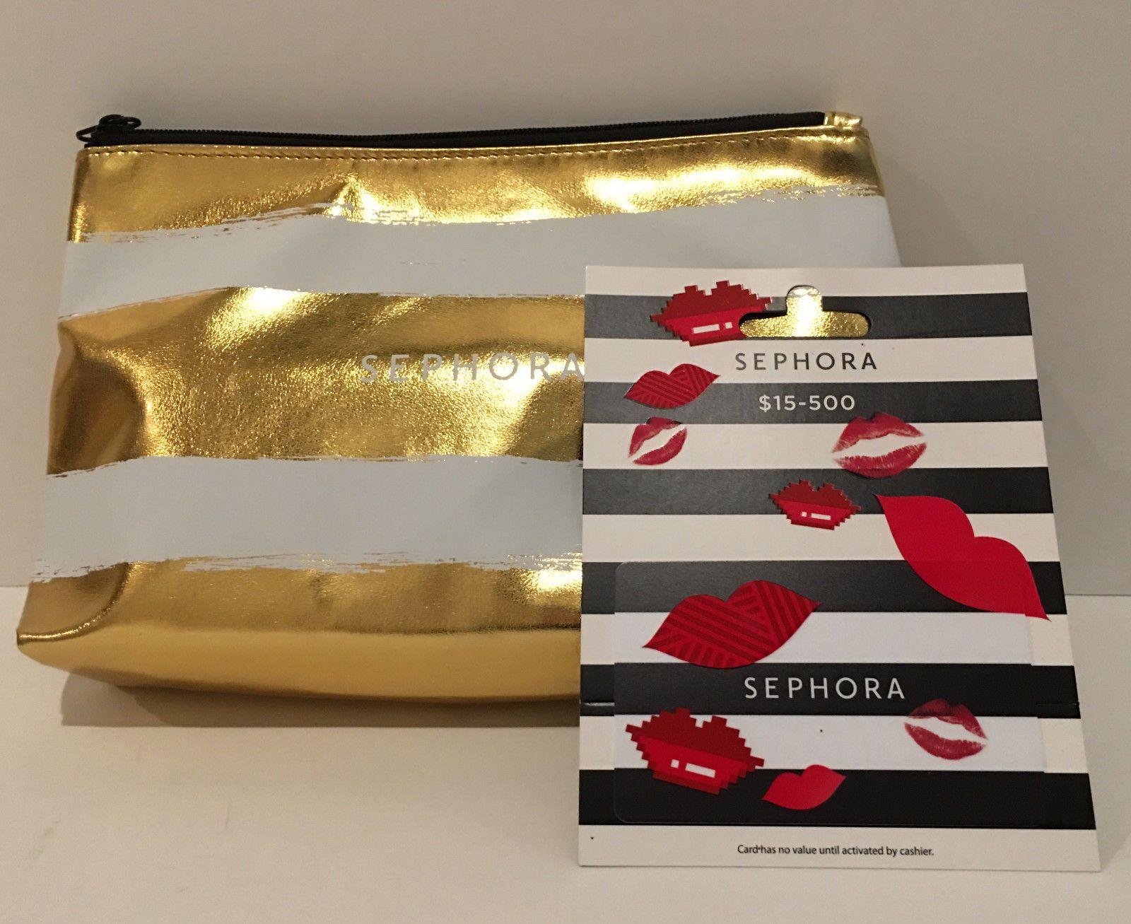 $25 Sephora gift card, Ltd Ed gold stripe cosmetic bag/clutch + ...