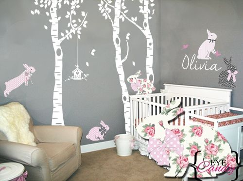 Vinyl Wall Art Fl Bunnies Forest