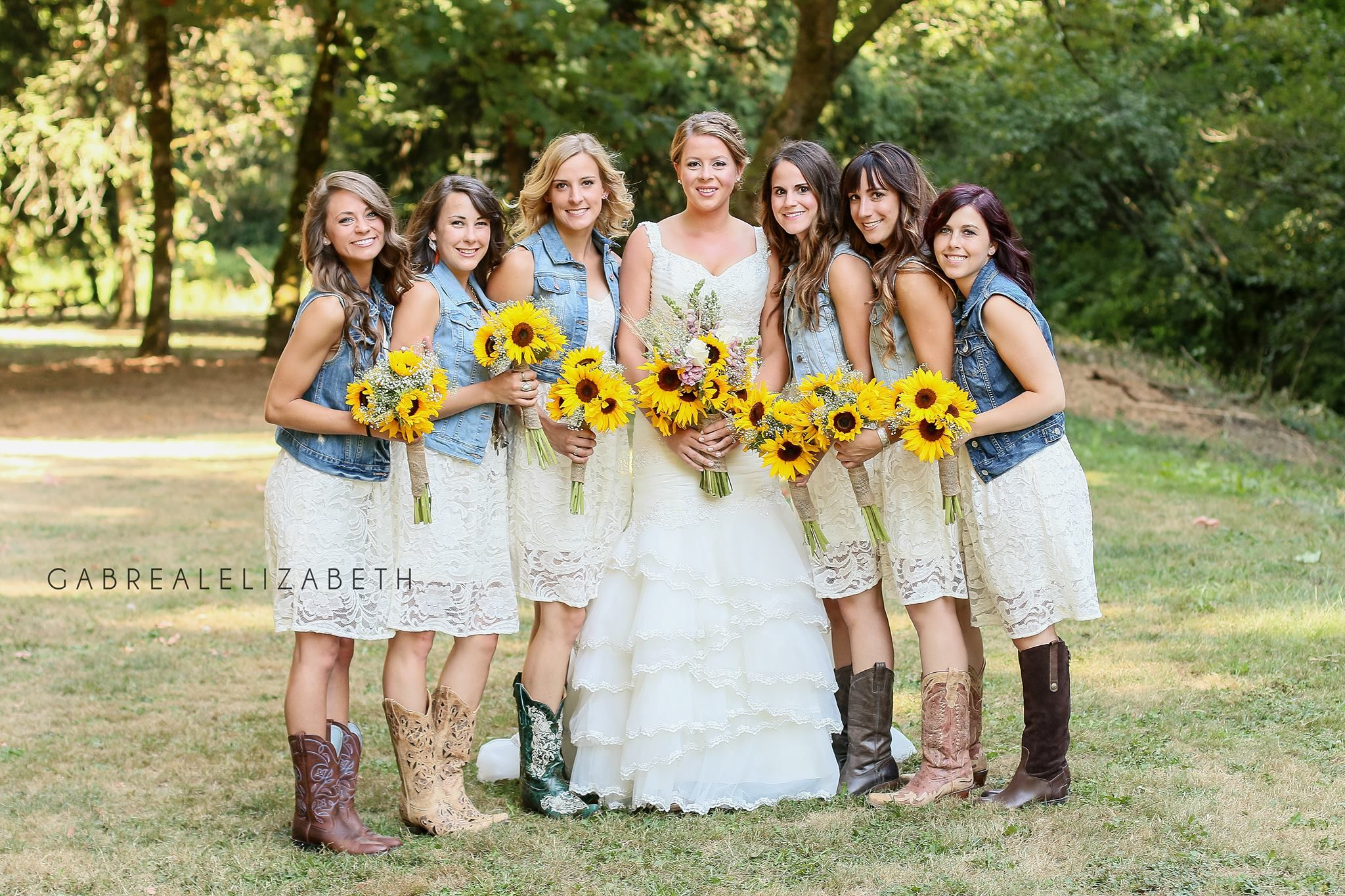 Country Wedding Lace Bridesmaids Dresses With Denim Vests Countrywedding Cou Country Bridesmaid Dresses Country Wedding Dresses Bridesmaid Country Bridesmaid
