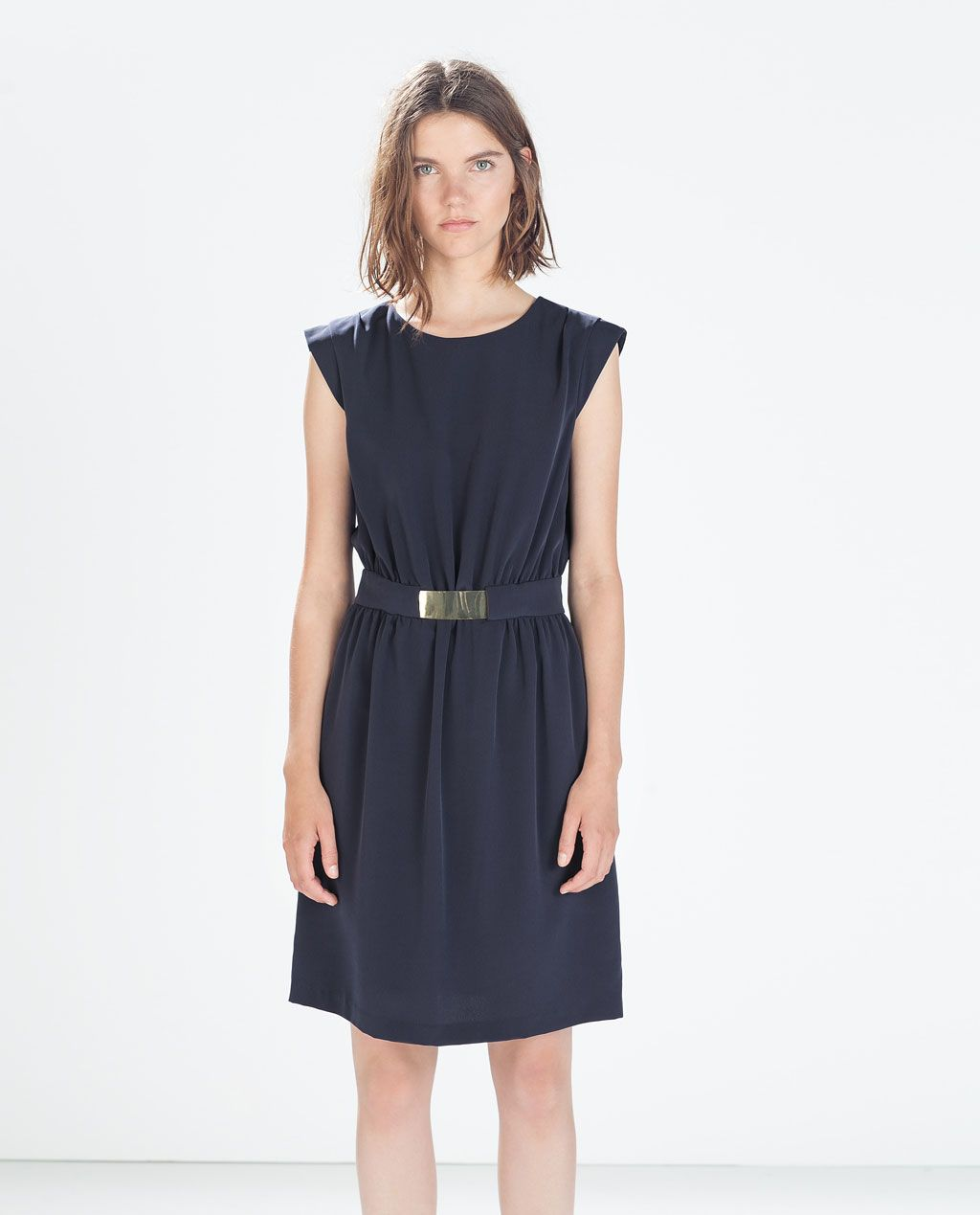 Zara woman flowy dress with buckled belt desiderata