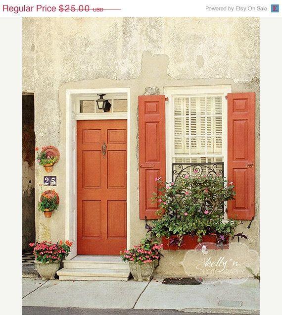 Door Window Photography Charleston Sc Photo Burnt Orange Etsy Window Photography Painted Front Doors Orange Front Doors