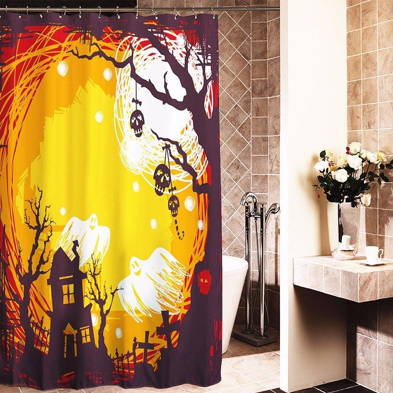 New 10 Style Christmas Santa Snowman Halloween Wicked Witch Ghost Haunted House Fabric Bathroom Shower Curtain