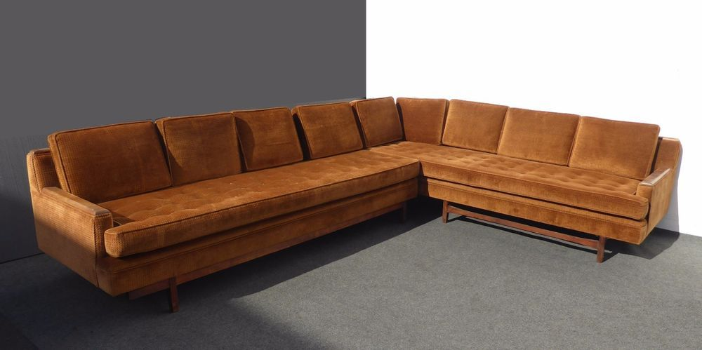 Vintage Mid Century Modern Burnt Orange Velvet Sectional Sofa