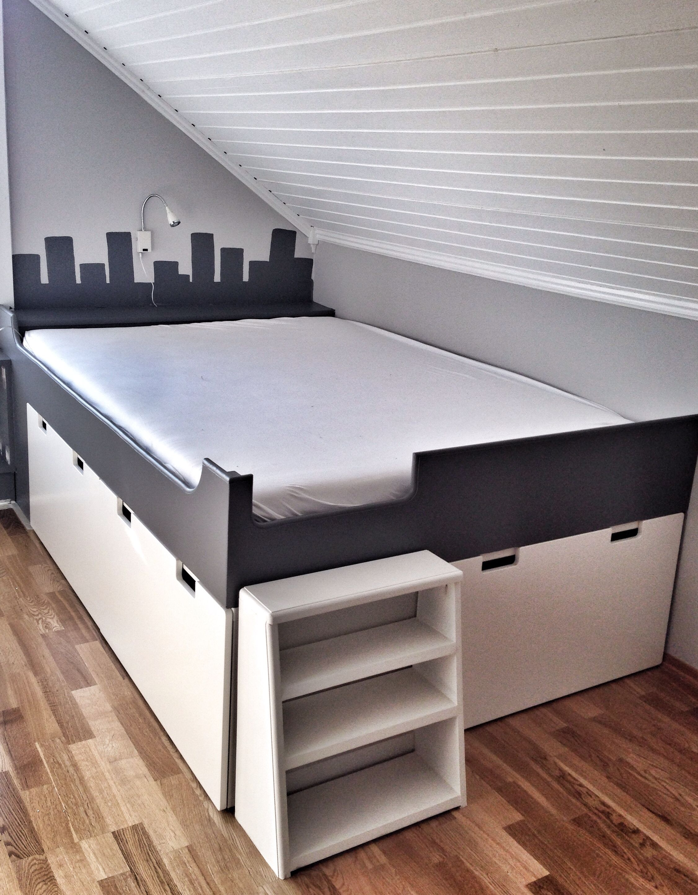 IKEA hack Stuva storage bench kids bedroom DIY grey and ...