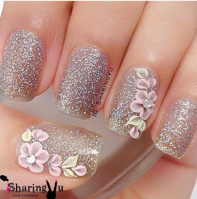 3dnailart 3d acrylic nail art featuring a 3d frangipani 3d sparkles with 3d nail art prinsesfo Gallery