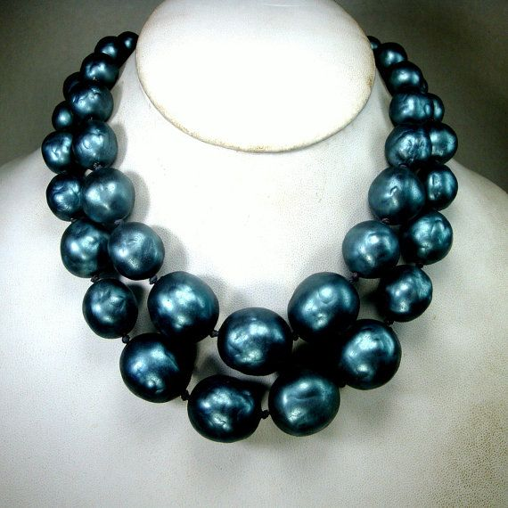 Metallic Green Blue Gray 2 Strand LARGE Bead by VintageStarrBeads