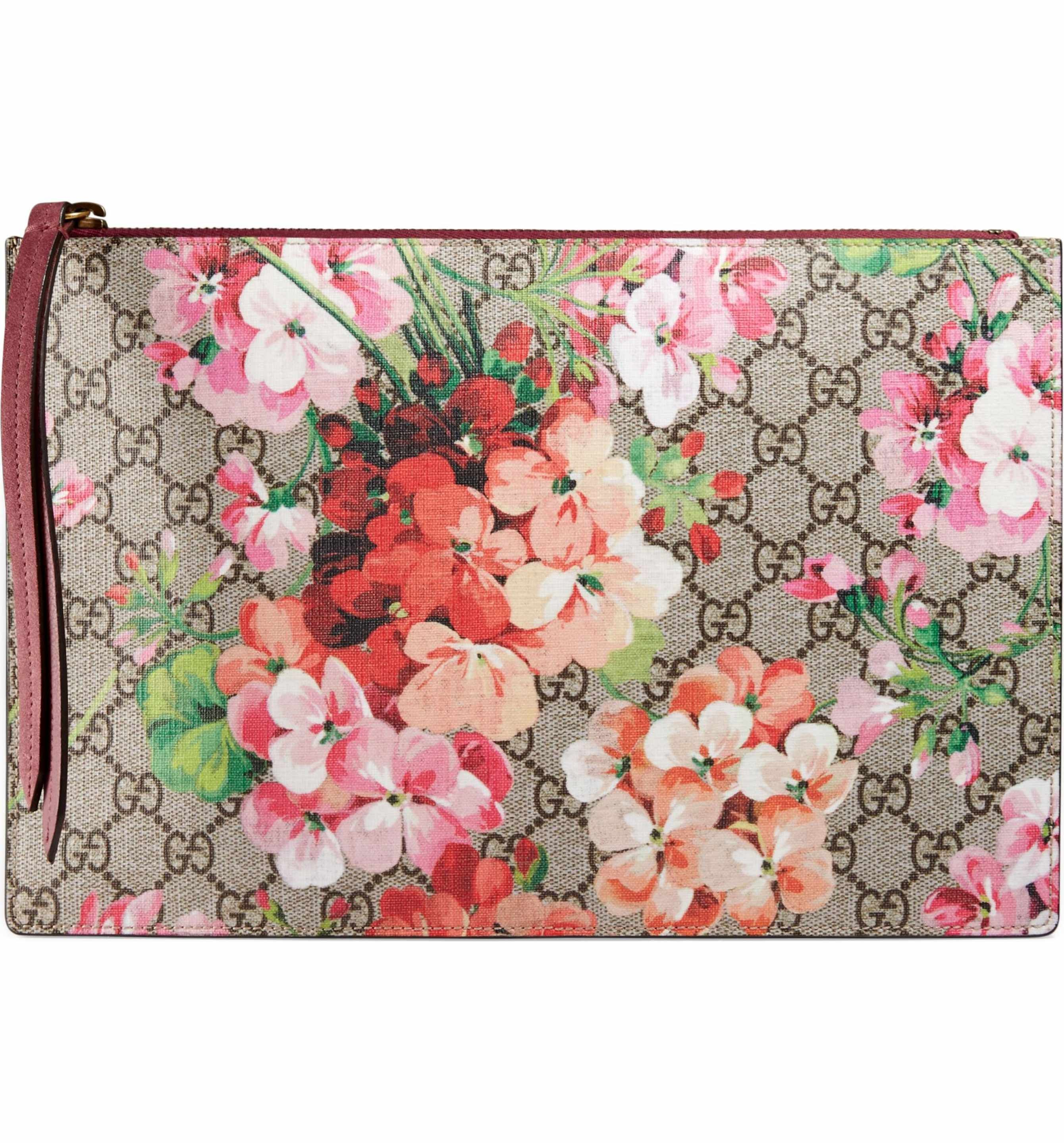 589aa494cb6 Main Image - Gucci GG Blooms Large Canvas   Suede Pouch