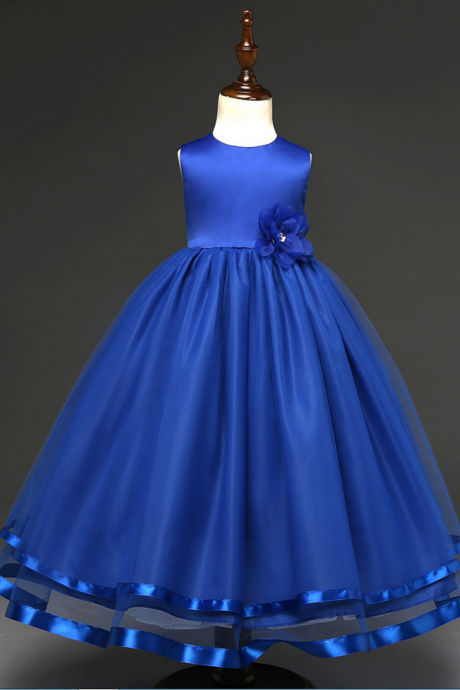 f10aa618c97d Custom Made Royal Blue Satin Ball Gown Evening Dress with Floral ...