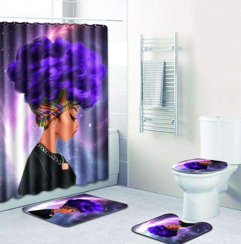 Starry Night Purple Hair Afro Girl Shower Curtain With 3 Pcs