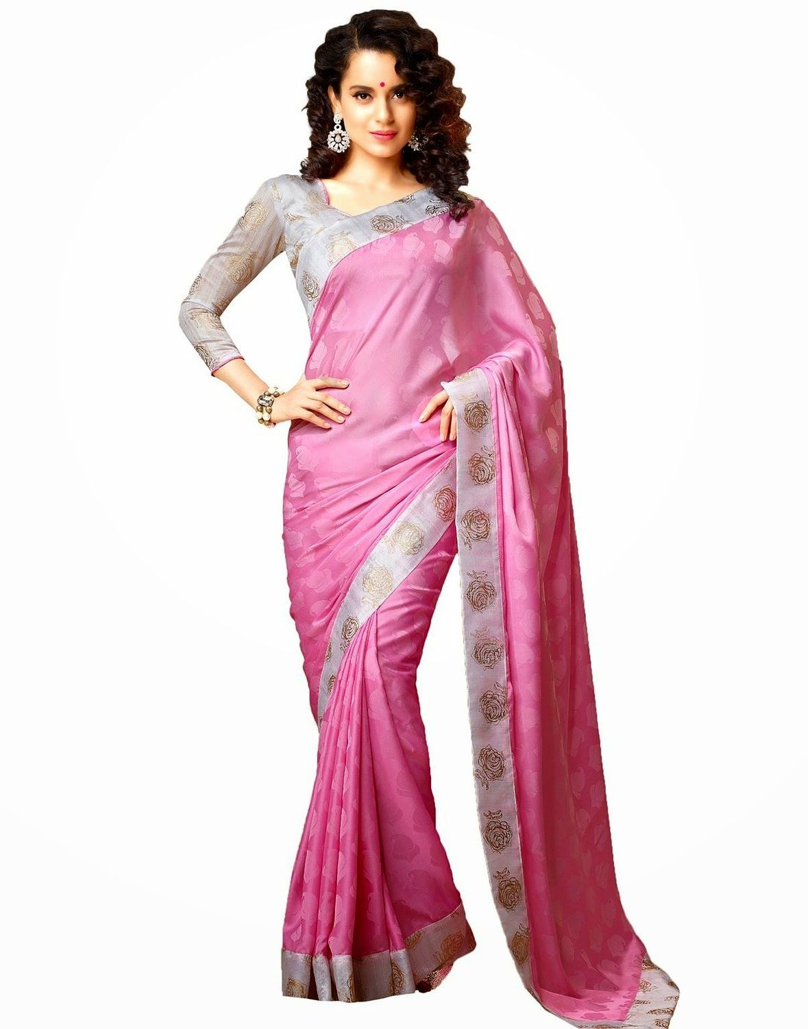 Star pink georgette fancy saree with unstitched blouse womenus