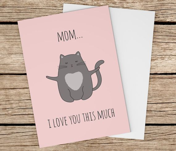 Cat Mother's Day Card Cute Cat Greeting Card By