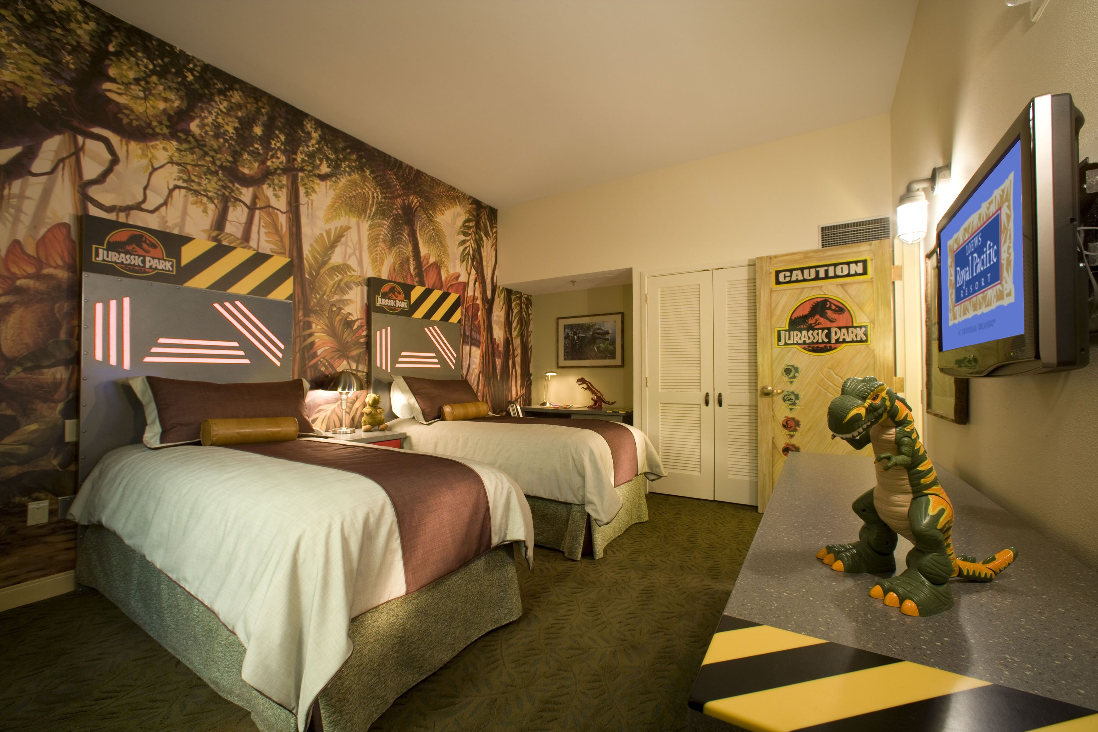 Jurassic Park Room!  Themed hotel rooms, Bedroom themes, Jurassic