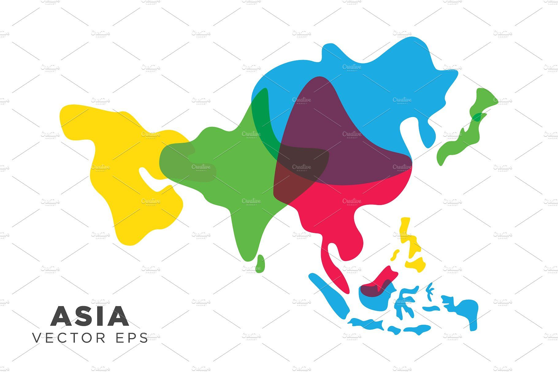 Asia Map Vector Asia Map Map Vector Illustrated Map