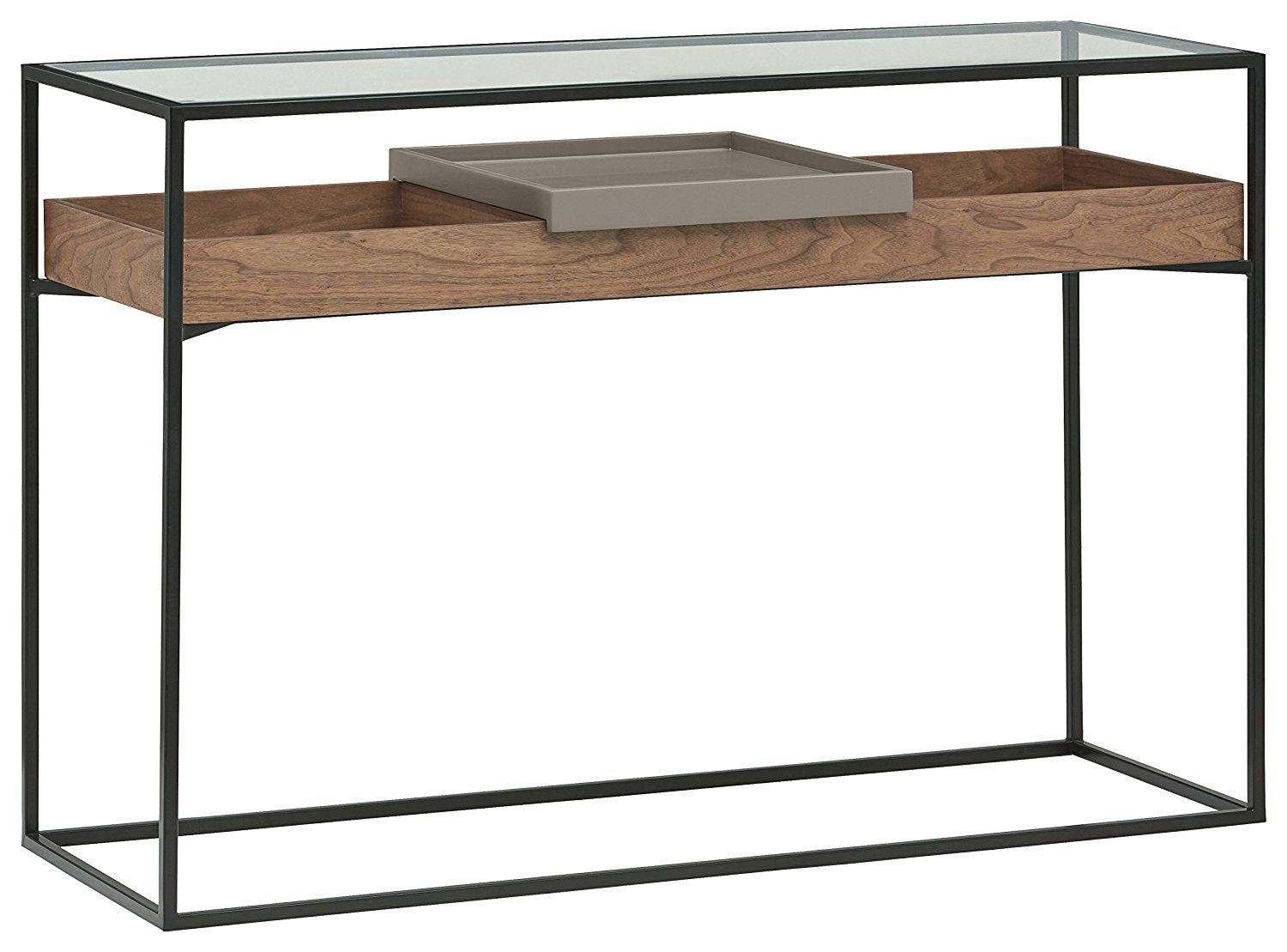 Amazon Com Rivet King Street Industrial Cabinet Media Console Table With Functional Storage Walnut Blac Industrial Cabinet Media Console Table Console Table