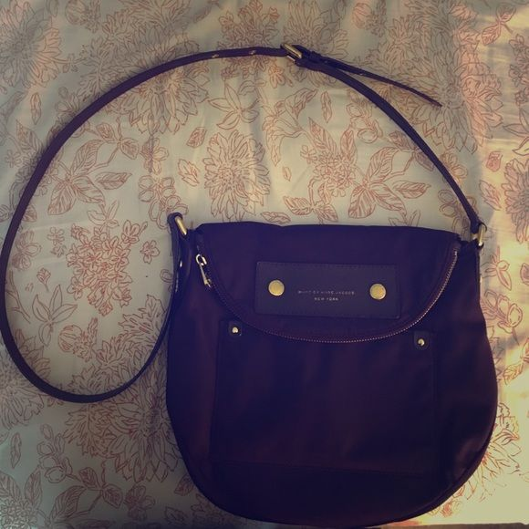 "Plum Nylon Cross Body ""Preppy Natasha"" Gently used. Still in great condition with lots of life left. Very easy to clean. Includes ID holder and dust bag. Less on M. Marc by Marc Jacobs Bags Crossbody Bags"