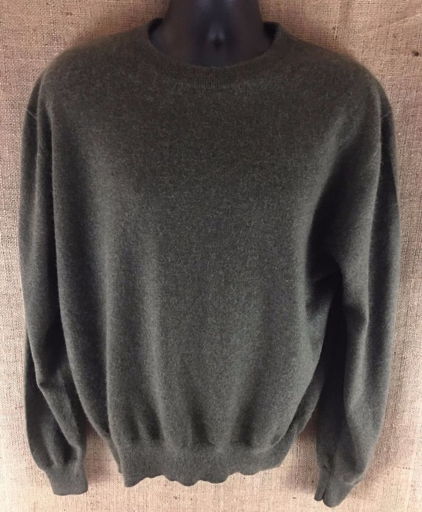 Details about Mens L 100% Cashmere Sweater Crewneck Dark Green ...