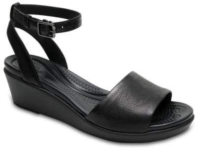 b1422af9f9cc Women s Crocs Leigh-Ann Ankle Strap Leather Mini Wedge