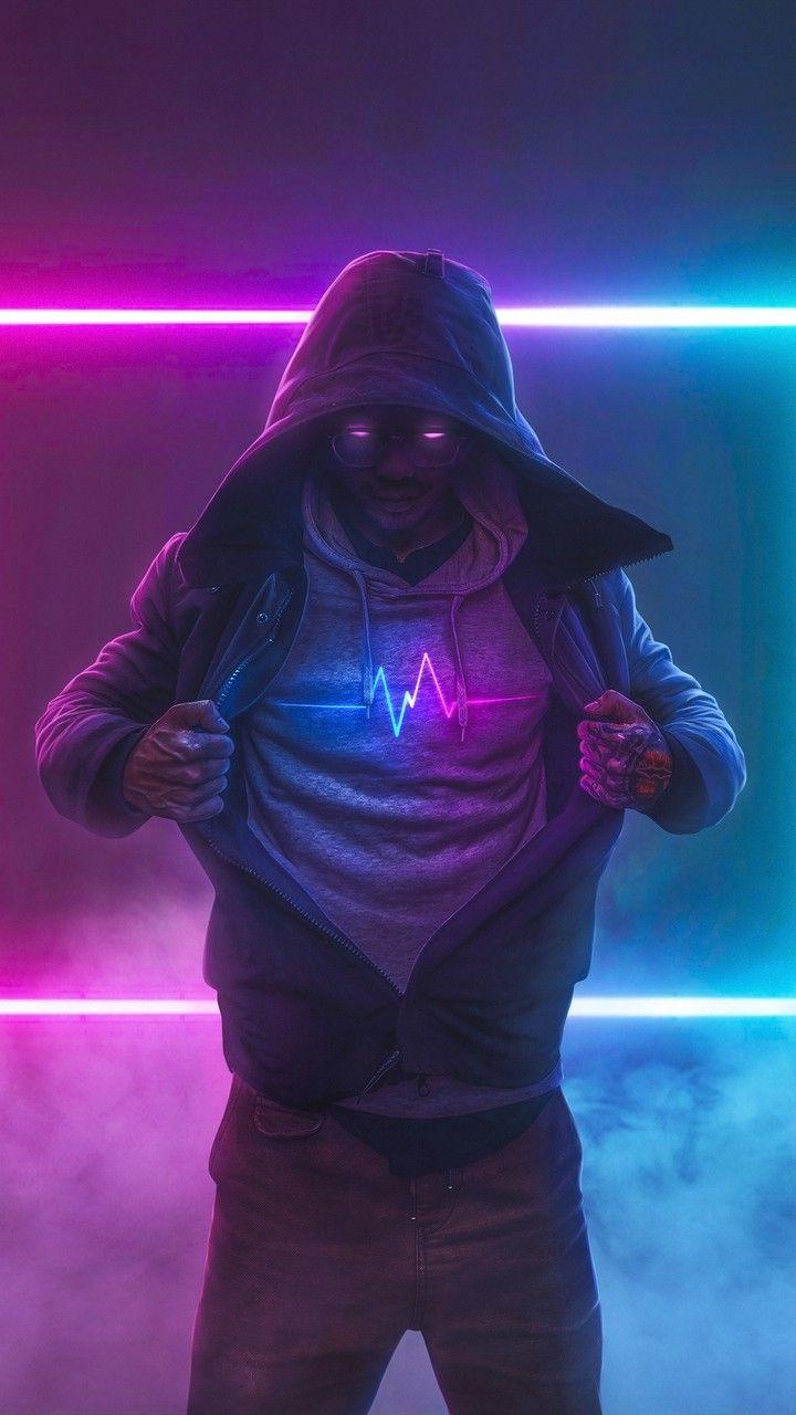 Hombre Encapuchado Neon Em 2020 Papel De Parede Android Imagem De Fundo Para Iphone Papeis De Parede Hd Celular