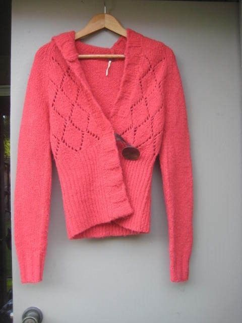 FREE PEOPLE Red Hooded Cardigan Sweater Size M | Cardigans ...