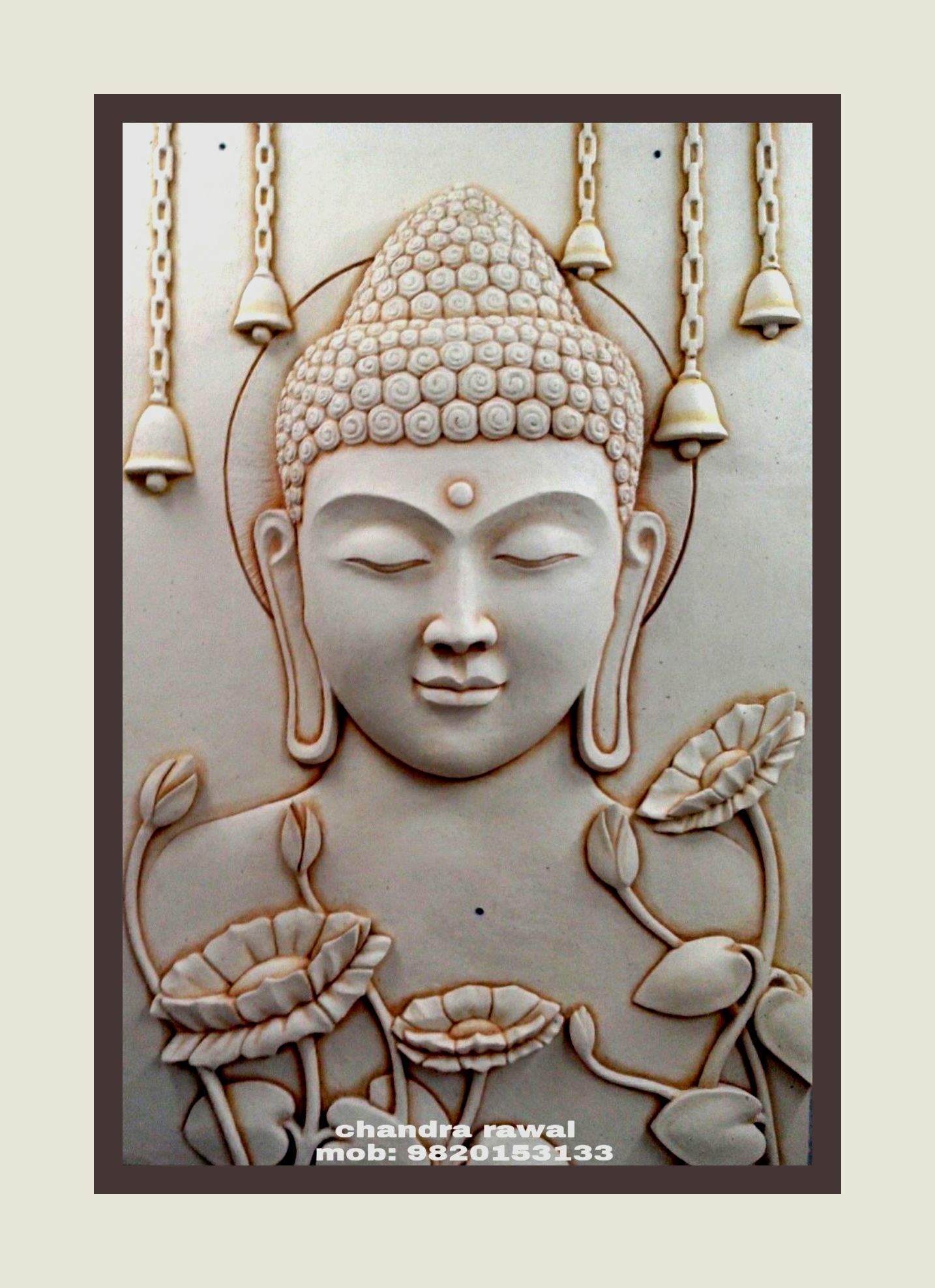 Buddha hand sculpted 3d mural on siporex siporex 3d for Clay mural designs
