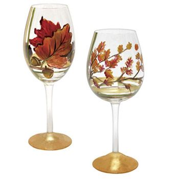hand painted thanksgiving wine glass candle holders - Google Search