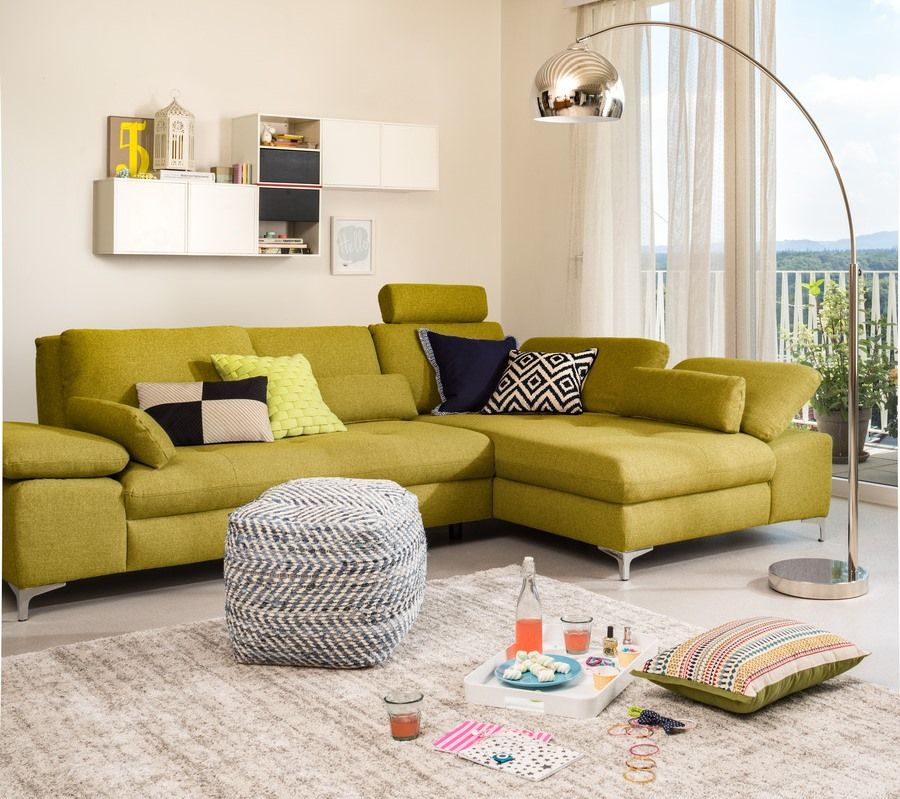 Ecksofa SANDER, grün, auch in diversen anderen Farben erhältlich - Wohnzimmer Design Grun