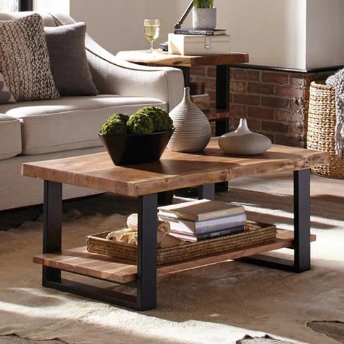 Alaterre Furniture 42 Alpine Natural Brown Live Edge Coffee Table