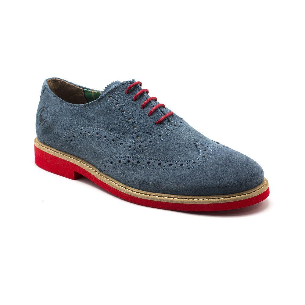 new style 05cfd 08270 Zapato Oxford Ante Azul Gastado Suela Rojo   El Ganso Online Store