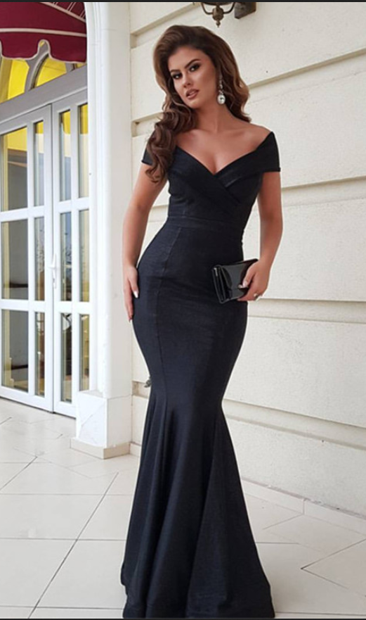 94e7bf37f71 BIG OFF promotion for One Day!Black Satin Prom Dresses Mermaid Long V Neck  Evening Dresses Off the Shoulder Formal Gowns Sexy Party Dress for Women  Pageant ...
