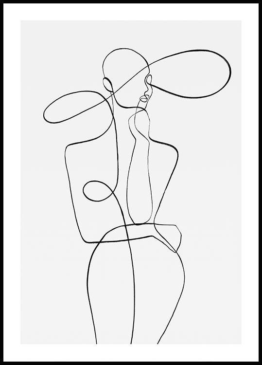 Photo of Minimalistisches abstraktes Plakat mit der Silhouette einer eleganten Frau. Silhouette auf …..