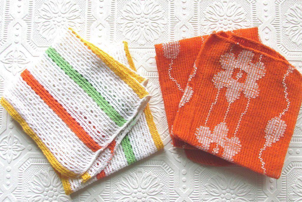 Vintage Floral Striped Dish Towels Wash Cloths Vintage Linens