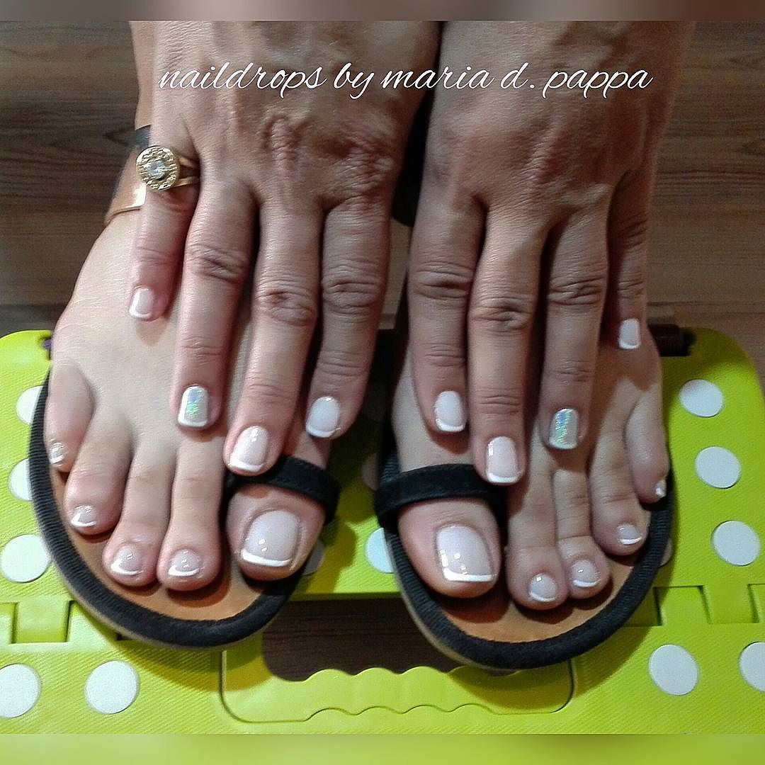 #Naildrops #manicure #pedicure #frenchmanicure #frenchtoes #holographicnails
