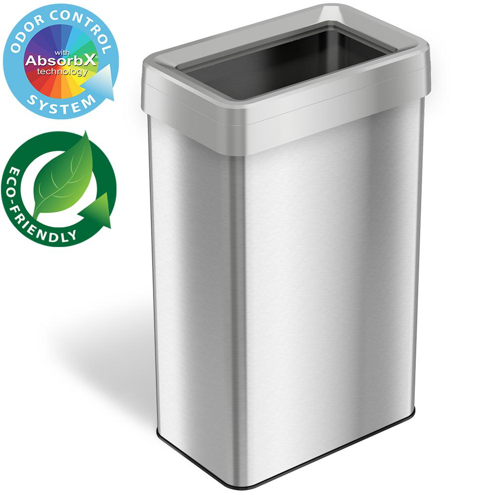 Itouchless 21 Gal Rectangular Open Top Commercial Grade Stainless Steel Trash Can And Recycle Bin With Dual Deodorizer Ot21rts The Home Depot Trash Can Recycling Bins Rectangular