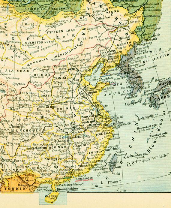 1930 Carte Chine Illustration Originale Larousse Encadrement
